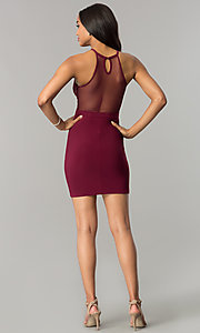 Image of lace-bodice short wedding-guest dress with sheer back. Style: MO-12293 Detail Image 2
