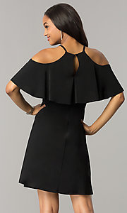 Image of short cold-shoulder casual party dress with ruffle. Style: MO-2068 Back Image
