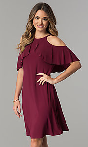 Image of short cold-shoulder casual party dress with ruffle. Style: MO-2068 Front Image