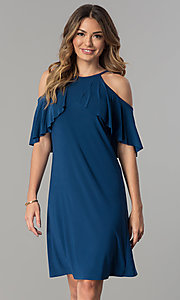 Image of short cold-shoulder casual party dress with ruffle. Style: MO-2068 Detail Image 1