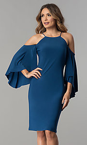 Image of cold-shoulder short party dress with sleeves. Style: MO-2073 Front Image
