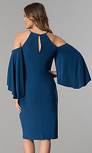 Image of cold-shoulder short party dress with sleeves. Style: MO-2073 Back Image