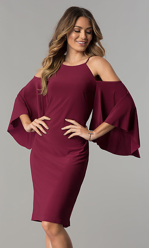 Image of cold-shoulder short party dress with sleeves. Style: MO-2073 Detail Image 2