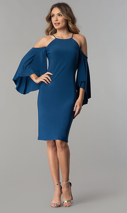 Image of cold-shoulder short party dress with sleeves. Style: MO-2073 Detail Image 1
