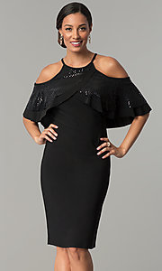 Image of knee-length cold-shoulder black wedding-guest dress. Style: MO-2081 Front Image