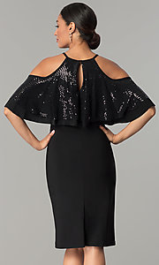 Image of knee-length cold-shoulder black wedding-guest dress. Style: MO-2081 Back Image
