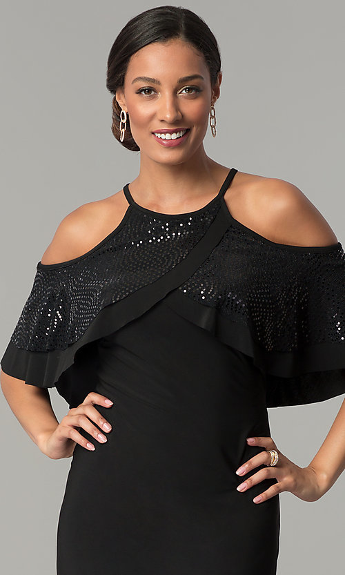 Image of knee-length cold-shoulder black wedding-guest dress. Style: MO-2081 Detail Image 1