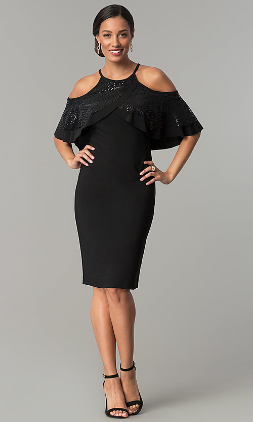 Image of knee-length cold-shoulder black wedding-guest dress. Style: MO-2081 Detail Image 2
