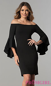 Off-the-Shoulder Short Party Dress with Bell Sleeves