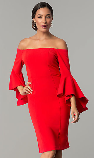 Off The Shoulder Short Party Dress With Bell Sleeves