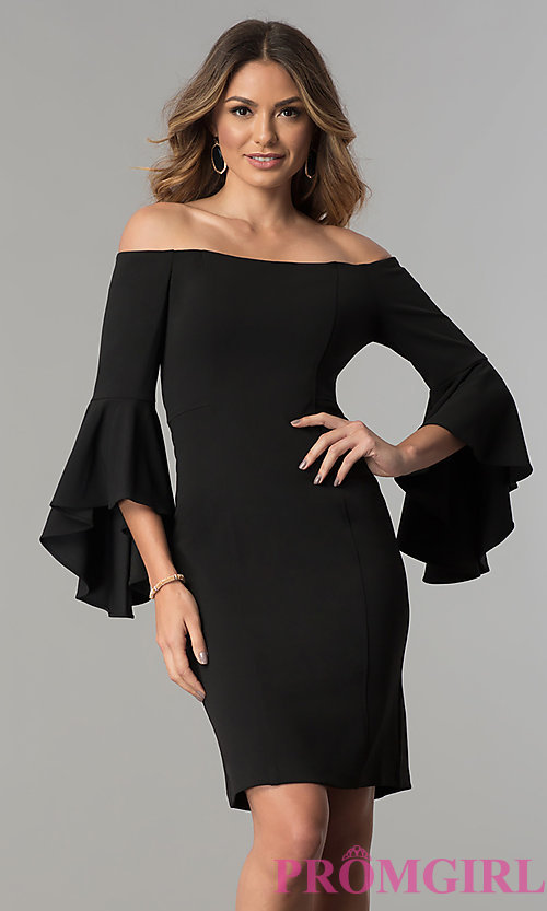 Image of off-the-shoulder short party dress with bell sleeves. Style: MO-8858 Front Image