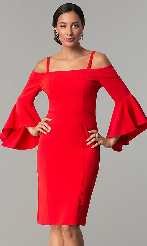Image of off-the-shoulder short party dress with bell sleeves. Style: MO-8858 Detail Image 3