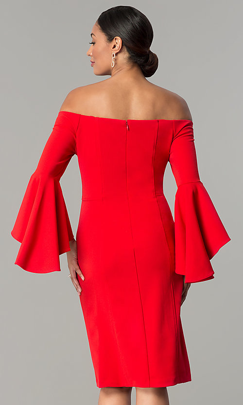 Image of off-the-shoulder short party dress with bell sleeves. Style: MO-8858 Back Image