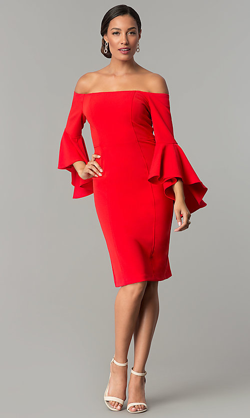 Image of off-the-shoulder short party dress with bell sleeves. Style: MO-8858 Detail Image 2