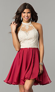 Image of short halter homecoming dress by Nina Canacci. Style: NC-104 Detail Image 2