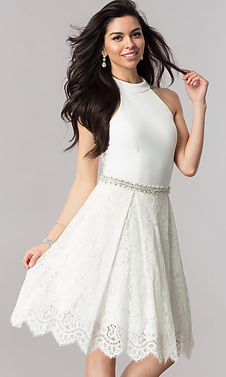 Short Nina Canacci High-Collar Homecoming Dress