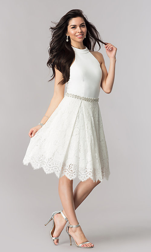 Image of short Nina Canacci high-collar homecoming dress. Style: NC-105 Detail Image 1