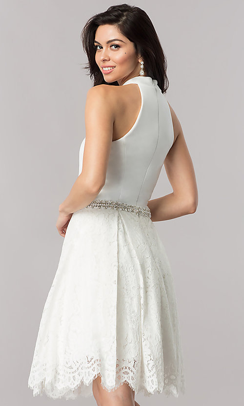 Image of short Nina Canacci high-collar homecoming dress. Style: NC-105 Back Image