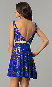 Image of short lace v-neck homecoming dress by Nina Canacci. Style: NC-109 Detail Image 3