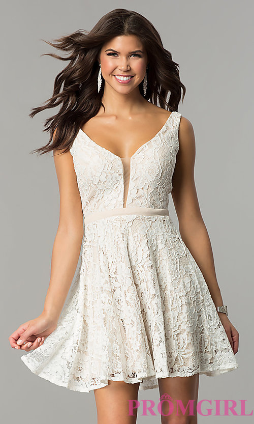 Image of short lace v-neck homecoming dress by Nina Canacci. Style: NC-109 Detail Image 1