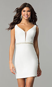 Image of short Nina Canacci party dress with open v-back. Style: NC-116 Detail Image 1