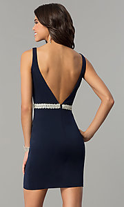 Image of short Nina Canacci party dress with open v-back. Style: NC-116 Back Image