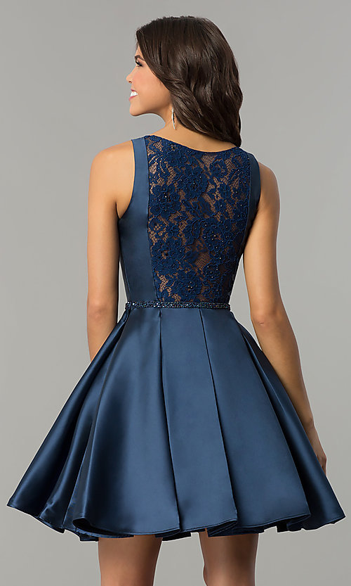 Image of short satin prom dress with illusion-lace open-back. Style: NC-117 Back Image