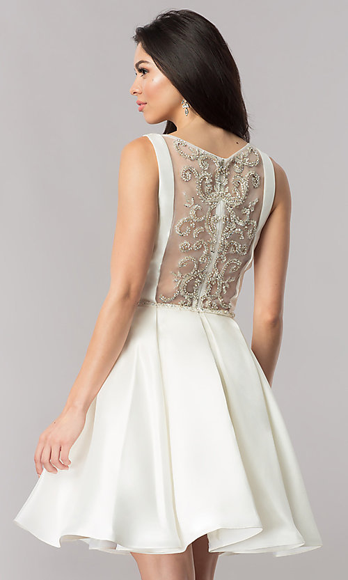 Image of short party dress with embellished sheer back. Style: NC-118 Detail Image 2
