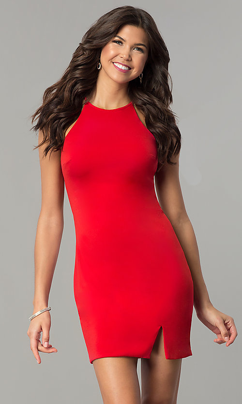 Image of short shift homecoming party dress with back cut out. Style: NC-103 Front Image
