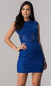 Short Illusion Lace Open Back Homecoming Dress