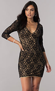 Short Illusion Lace 3/4 Sleeve Open Back Homecoming Dress