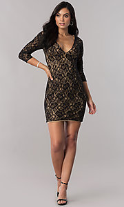 Image of short illusion-lace open-back homecoming dress. Style: NC-128 Detail Image 1