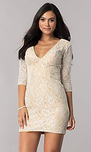 Image of short illusion-lace open-back homecoming dress. Style: NC-128 Detail Image 2