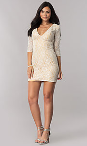 Image of short illusion-lace open-back homecoming dress. Style: NC-128 Detail Image 3