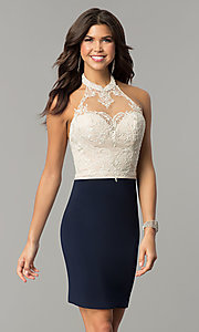 Image of halter homecoming short dress with lace bodice. Style: NC-132 Front Image