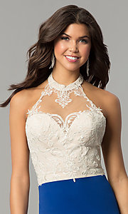 Image of halter homecoming short dress with lace bodice. Style: NC-132 Detail Image 3
