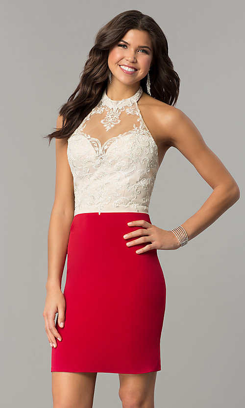 Image of halter homecoming short dress with lace bodice. Style: NC-132 Detail Image 1