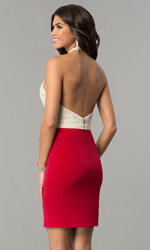Image of halter homecoming short dress with lace bodice. Style: NC-132 Back Image