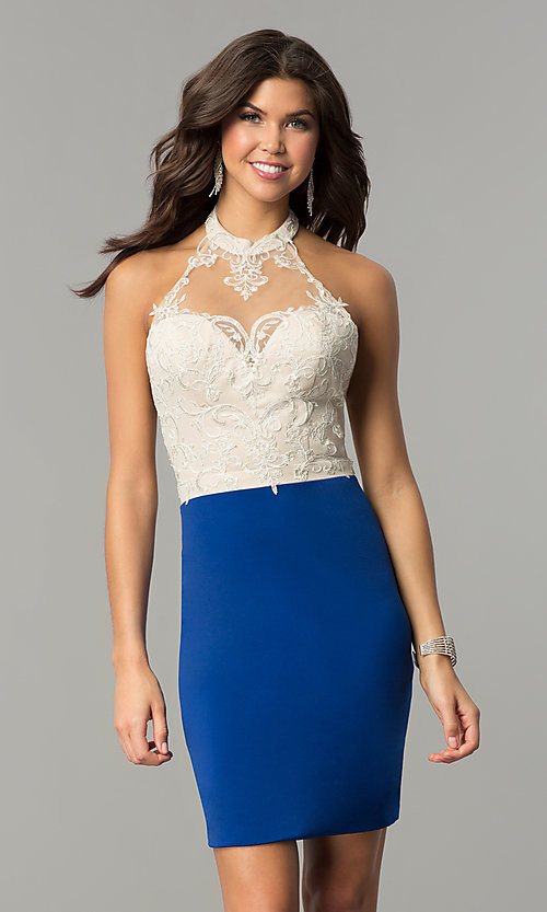 Image of halter homecoming short dress with lace bodice. Style: NC-132 Detail Image 2