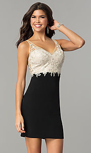Image of short empire-waist homecoming dress with lace bodice. Style: NC-141 Detail Image 1