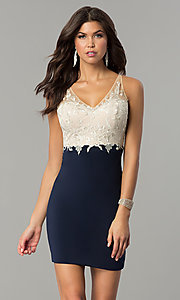 Image of short empire-waist homecoming dress with lace bodice. Style: NC-141 Front Image
