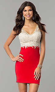 Image of short empire-waist homecoming dress with lace bodice. Style: NC-141 Detail Image 2