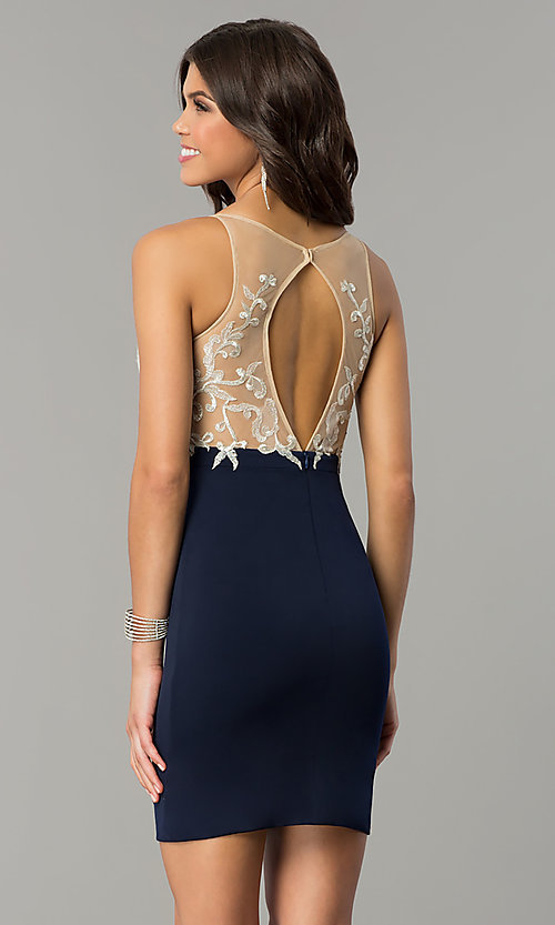 Image of short empire-waist homecoming dress with lace bodice. Style: NC-141 Back Image