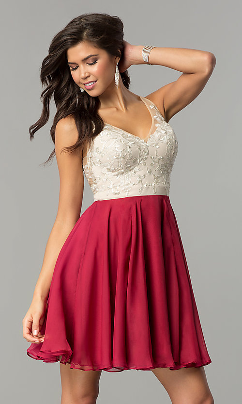 Image of v-neck a-line short homecoming dress with embroidery. Style: NC-140 Front Image