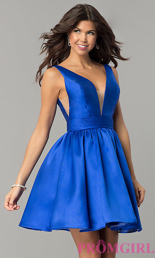 Image of short v-back homecoming dress with deep-v-neck. Style: NC-122 Front Image