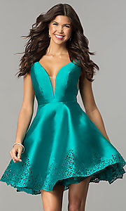 Image of deep-v-neck open-back short satin homecoming dress. Style: NC-124 Detail Image 1