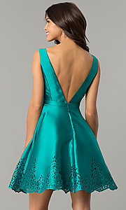 Image of deep-v-neck open-back short satin homecoming dress. Style: NC-124 Back Image