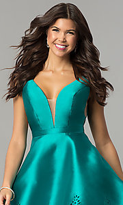 Image of deep-v-neck open-back short satin homecoming dress. Style: NC-124 Detail Image 2