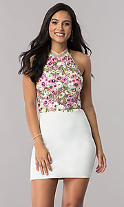 Short Strapless Open Back Embroidered Homecoming Dress
