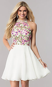 Short Open Back Embroidered Bodice Homecoming Dress
